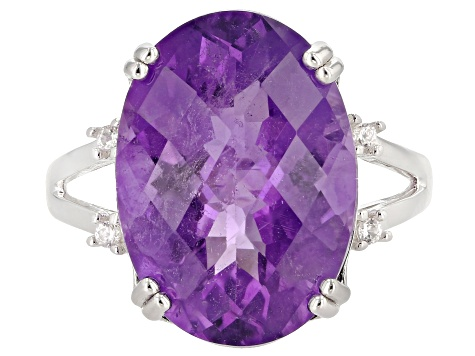 Purple African amethyst sterling silver ring 10.15ctw