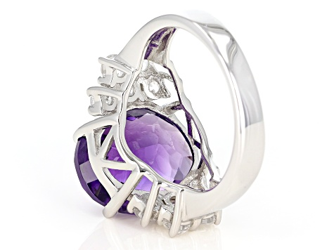 Purple African amethyst sterling silver ring 7.57ctw