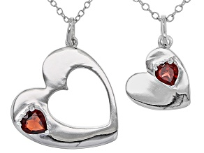 Red Garnet Sterling Silver Heart Pendants With Chains 2-piece Set .63ctw