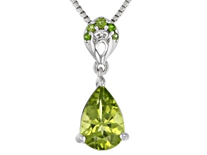 Green peridot rhodium over silver pendant with chain 1.16ctw