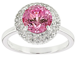 Pink Lab Created Sapphire Sterling Silver Ring 3.12ctw
