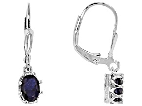 Blue sapphire sterling silver dangle earrings 1.19ctw