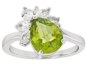 Green Peridot Rhodium Over Silver Ring 3.03ctw