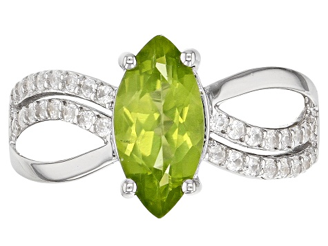 Green Peridot Rhodium Over Silver Ring 1.81ctw