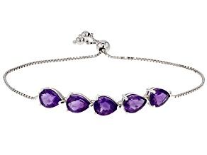 Purple African Amethyst Rhodium Over Sterling Silver Bolo Bracelet 9.00ctw