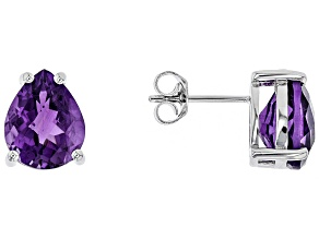 Purple African amethyst rhodium over sterling silver earrings 6.05ctw