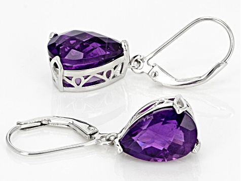 Purple African Amethyst Rhodium Over Sterling Silver Dangle Earrings 6.05ctw