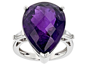 Purple African Amethyst Rhodium Over Sterling Silver Ring 17.12ctw