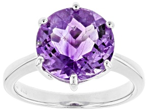 Purple Amethyst Sterling Silver Ring 3.99ct