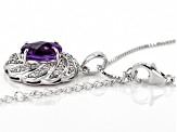 Purple Moroccan amethyst rhodium over silver pendant with chain 2.97ctw