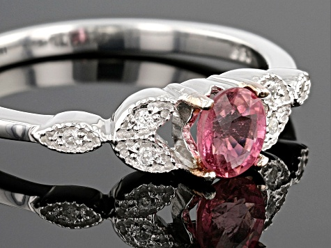 Pink rubellite tourmaline sterling silver ring .31ctw
