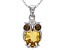 Yellow Citrine rhodium over silver owl pendant with chain 2.85ctw