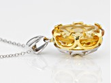 Yellow citrine rhodium over silver two-tone pendant with chain 9.00ct