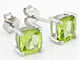 Green Manchurian Peridot™ Rhodium Over Silver Stud Earrings/Web Only 1.78ctw