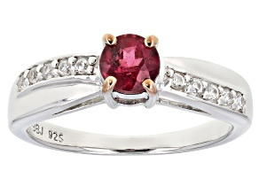 Pink rubellite tourmaline sterling silver ring .66ctw
