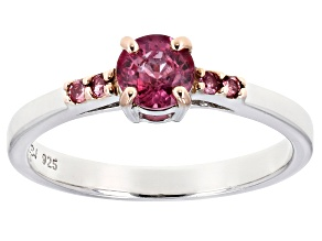 Pink rubellite tourmaline sterling silver ring .50ctw
