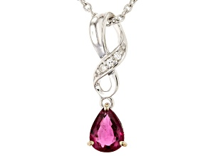 Pink tourmaline silver pendant with chain .78ctw
