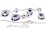 Purple African amethyst sterling silver necklace 13.54ctw
