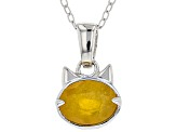 Yellow sapphire sterling silver pendant with chain 1.75ct