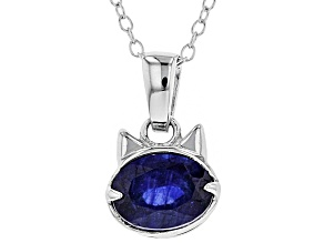 Blue sapphire sterling silver pendant with chain 1.50ct