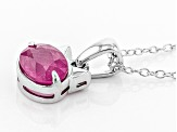Pink sapphire sterling silver pendant with chain 1.10ct