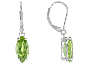 Green Manchurian Peridot™ Rhodium Over Silver  Earrings 2.90ctw Web Only