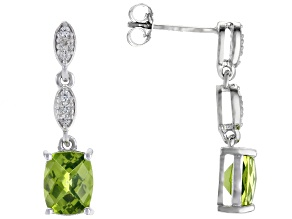 Green Peridot rhodium over silver earrings 3.00ctw