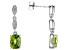 Green Peridot rhodium over silver earrings 3.00ctw