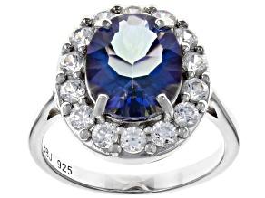 Blue Petalite Rhodium Over Silver Ring 3.29ctw