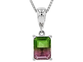 Multicolor Watermelon Quartz Triplet rhodium over silver ehancer with chain 1.44ct
