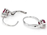Red ruby sterling silver earrings 1.97ctw