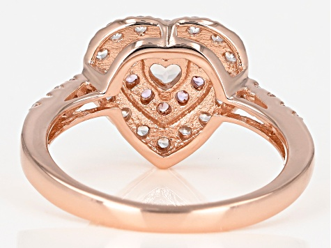 Pink morganite 18k rose gold over silver ring .76ctw