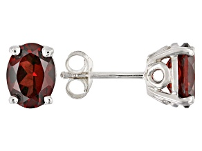 Red garnet rhodium over silver earrings 2.38ctw