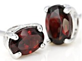 Red garnet rhodium over silver earrings .95ctw