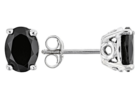 Black spinel rhodium over silver earrings 2.29ctw