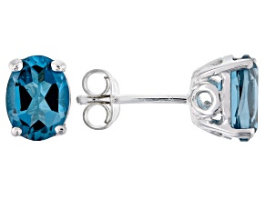 Blue topaz rhodium over silver earrings 2.63ctw