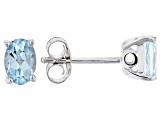 Sky blue topaz rhodium over silver earrings .91ctw