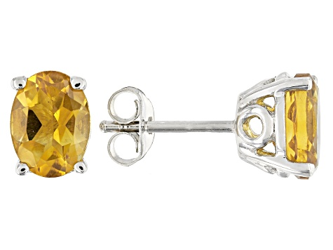 Yellow citrine rhodium over silver earrings 1.88ctw