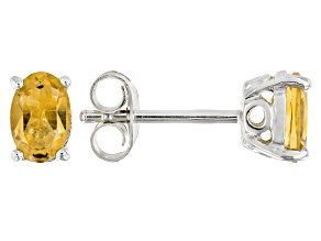 Yellow citrine rhodium over silver earrings .71ctw