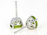 Green peridot rhodium over silver earrings 2.31ctw