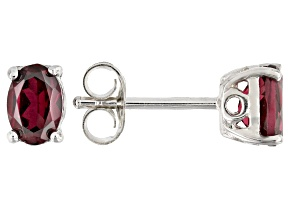 Raspberry color rhodolite rhodium over silver earrings .95ctw