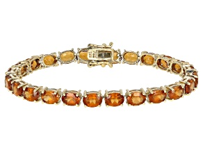 Orange Hessonite Garnet 18k Yellow Gold Over Silver Bracelet 23.25ctw