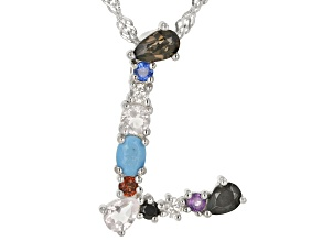 Multi-Color Gemstone Rhodium Over Silver Initial Pendant With Chain
