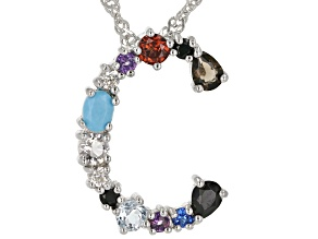 Multi-Color Gemstone Rhodium Over Silver Initial C Pendant With Chain