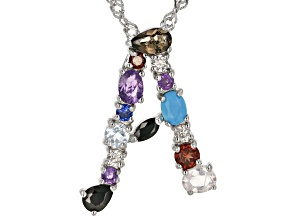 Multi-Color Gemstone Rhodium Over Silver Initial