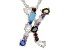 Multi-Color Gemstone Rhodium Over Silver Initial Pendant With Chain .68ctw