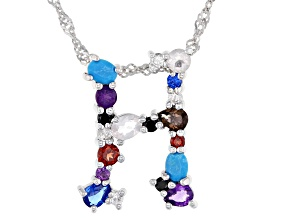Multi-color Gemstone Rhodium Over Silver