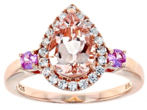 Pink morganite 18k rose gold over silver ring 2.12ctw