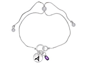 Purple amethyst rhodium over sterling silver adjustable bolo bracelet 0.18ct
