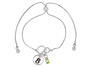 Green peridot rhodium over sterling silver adjustable bolo bracelet
